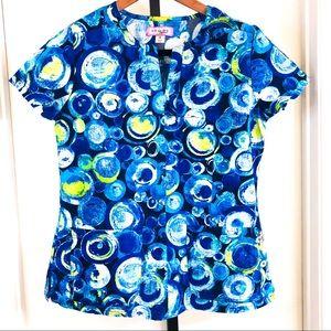 Koi Womens M Blue Green Circles Scrub Top